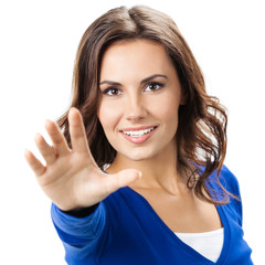 Woman with stop gesture, isolated