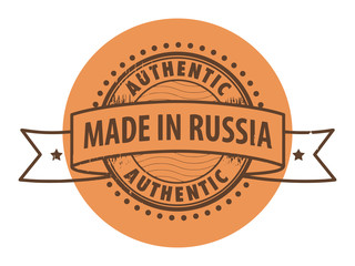 Stamp with the text Authentic, Made in Russia, vector