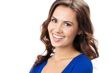 Happy smiling young woman, over white