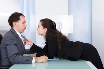 Couple Flirting In Office