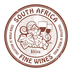 Grunge rubber stamp with words South Africa, Fine Wines