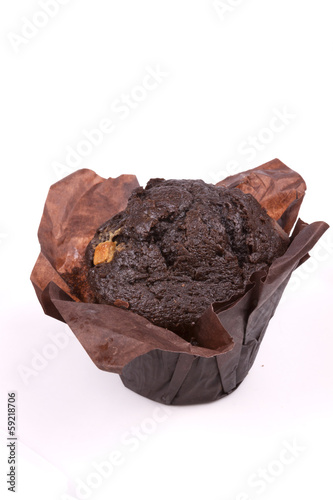 Chocolate Muffin on a white background.