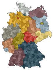 Deutschlandkarte - Bundesländer und Landkreise