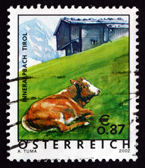 Postage stamp Austria 2002 Cow in Pasture, Tyrol Province