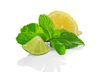 slices of lemon and lime with fresh mint
