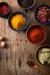 spices in bowls: pink and black pepper, paprika powder, curry, b