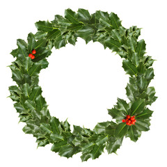 Christmas holly leaves and berries on white