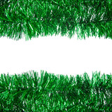 Green Christmas tinsel frame