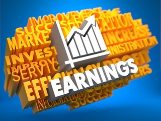 Earnings. Wordcloud Concept.