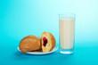 Leinwandbild Motiv Fresh, tasty croissants and milk