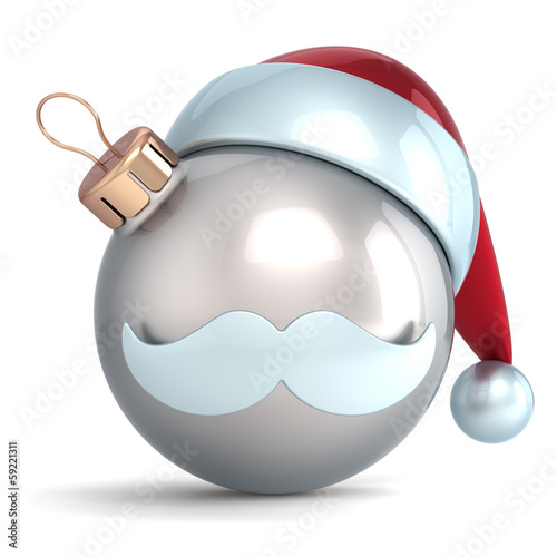 Christmas ball ornament Santa Claus hat New Year bauble silver