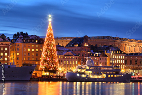 .Stockholms old city with christmas tree