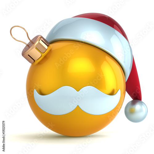 Christmas ball ornament Santa Claus hat New Year bauble gold