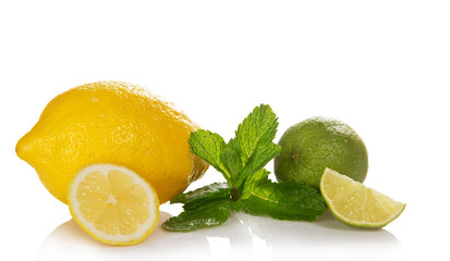 Green lime, mint and the lemon