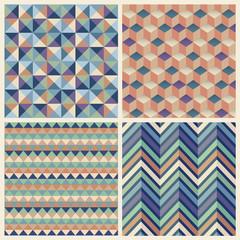Seamless geometric cube background set. Patterns Vector