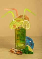 Drink with straws and umbrellas