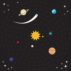 Flat solar system illustration with sun, planets and comets