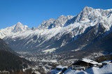 Sunlit valley of Chamonix in winter