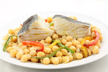 traditional christmas portuguese dish -boiled cod fish with chic