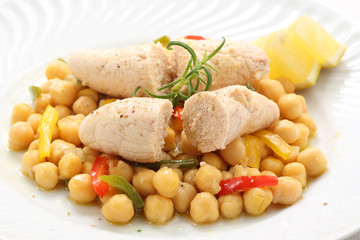 traditional portuguese dish-boiled fish eggs with chickpeas