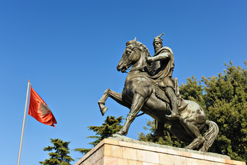 Statue of national hero Skanderbeg in Kruja