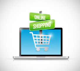 laptop computer online shopping sign illustration