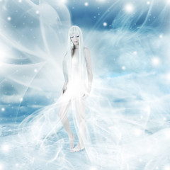 fairy woman on snow winter background