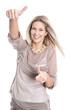 Lachende glückliche junge Frau isoliert
