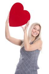 Valentinstag - Frau isoliert mit Herz in Rot