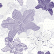 Floral seamless pattern with hand drawn orchids .Vector design.