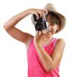 Little girl photographs old camera