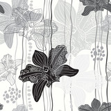 Monochrome floral seamless pattern with hand drawn orchids .Vect