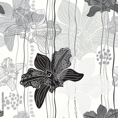 Tapeta Monochrome floral seamless pattern with hand drawn orchids .Vect