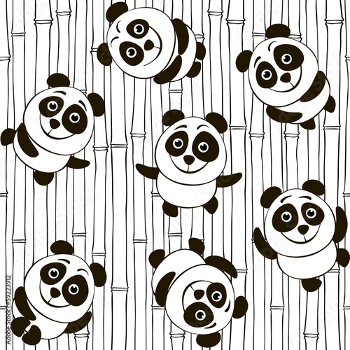 Monochrome seamless pattern with pandas