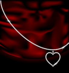 red silk and jewel heart