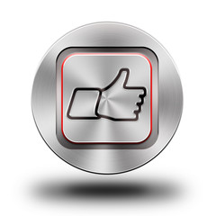 Like - thumb up, aluminum button