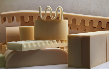 Italy, foam rubber shapes in a foam rubber factory