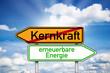 Wegweiser mit Kernkraft und erneuerbare Energie