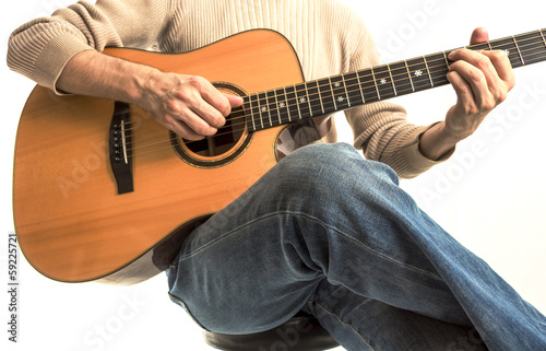 Guitarist with his Acoustic Guitar