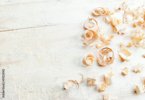Closeup view of wooden shavings