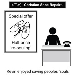 Kevin the Christian cobbler cartoon