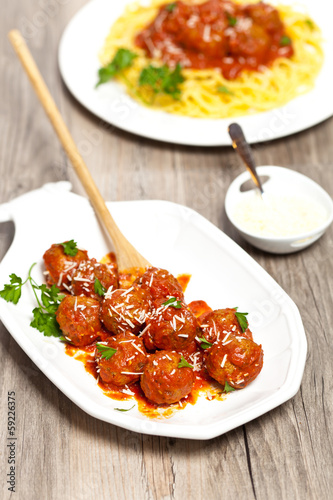 Meatballs in tomato sauce with parsley