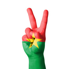 Hand making the V sign, Burkina flag painted