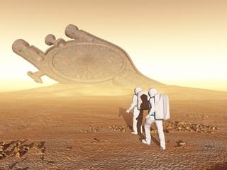 Exploradores que encuentran una nave antigua en otro planeta