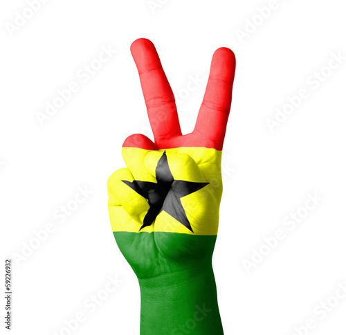 Hand making the V sign, Ghana flag painted