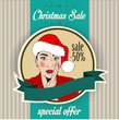 Christmas sale design with sexy Santa girl