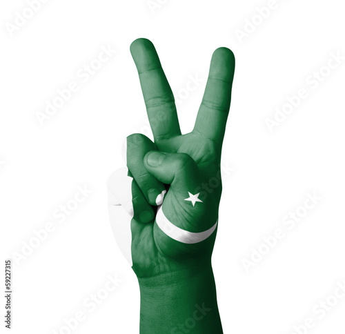 Hand making the V sign, Pakistan flag painted