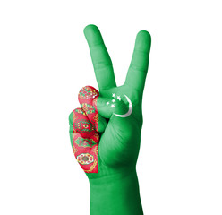 Hand making the V sign, Turkmenistan flag painted