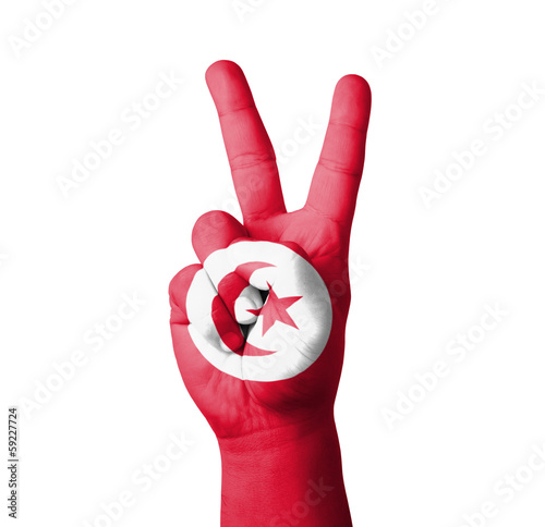 Hand making the V sign, Tunisia flag painted