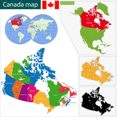 Colorful Canada map